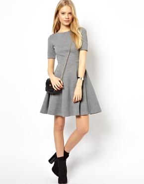 Grey casual skater dress